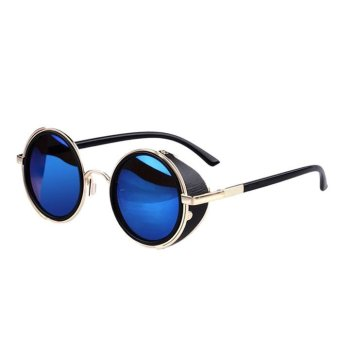 Mirror Lens Round Glasses Cyber Goggles Steampunk Sunglasses Blue