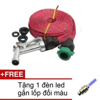 Vòi phun xịt nước rửa xe tưới cây 10m HQ 1TI66-1A (Đỏ)  + Tặng 1 đèn led gắn lốp đổi màu 1TI31