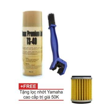Bộ sản phẩm chai xịt vệ sinh sên TS-40 450ml kèm bàn chải vệ sinh sên 3D cao cấp, tặng kèm lọc nhớt
