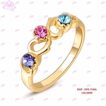 Nhẫn vàng đính đá màu Elvy DPR.7180c
