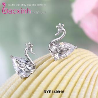 Bông tai nữ trang sức bạc Ý S925 Bạc Xinh - Đôi thiên nga RYE140916