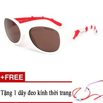 Kính mát trẻ em EXFASH EF4741 106 (Trắng họa tiết đỏ) + Tặng kèm 1 dây đeo kính trẻ em