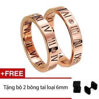 Nhẫn cặp la mã (Đồng) + Tặng bộ 2 bông tai thời trang winwinshop88 bt115 loại 6mm (đen)