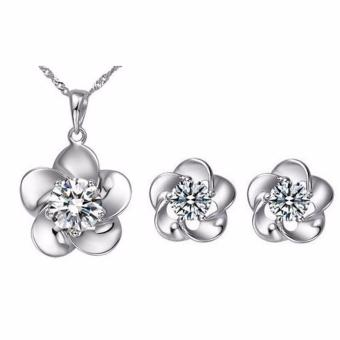 Fancyqube Zircon Crystal Flower Necklace And Earrings Jewelry Sets - intl