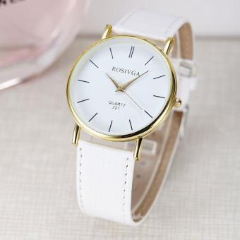 Đồng hồ nữ dây da thời trang Rosivga 6695 (Dây trắng)