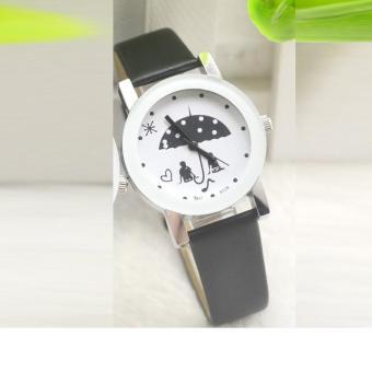 Đồng hồ nữ dây da thời trang IDMUASAM 9413 (Dây đen mặt trắng)