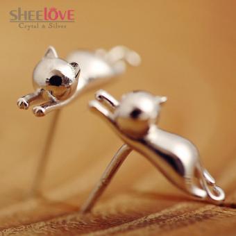 Bông tai nữ bạc chú mèo con cute xinh xắn dễ thương SPE-KAF025 (Bạc)