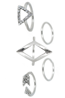 Fancyqube Fashion Punk Gold Geometric Triangle Mid Finger Rings Silver