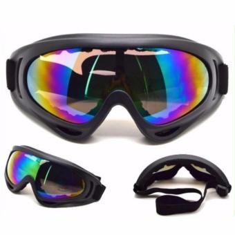 Mắt kính đi phượt CHỐNG BỤI, CHỐNG TIA UV X400 (dây Đen, kính tráng bạc 7 màu )