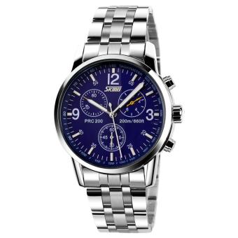 Đồng hồ nam dây inox Skmei 9070 (Mặt Xanh)