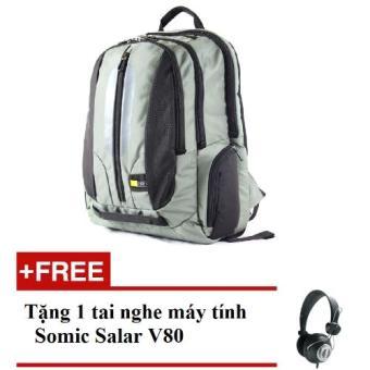 Ba lô đựng Laptop 15.6' Case logic (Đen phối Xanh)+ Tặng 1 Tai nghe máy tính Somic Salar V80