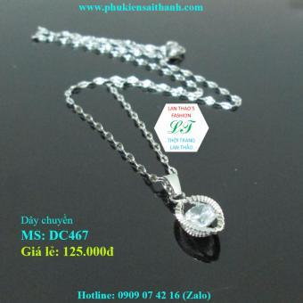 Dây chuyền Inox Nữ Bầu dục lồng hạt xinh xắn DC467 (TRẮNG)