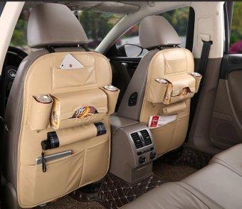 Túi đựng đồ 7 ngăn lưng ghế xe hơi đa năng bằng da PU (Kem)