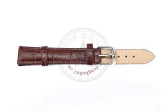 Dây đồng hồ da bò vân cá sấu size 16mm - DDH11 (Nâu).