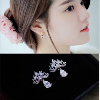 Bông tai Vương Miện bạc 925 đính Đá tự nhiên phong cách Hàn Quốc