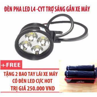 Đèn pha led L4-CYT trợ sáng gắn xe máy + 2 bao tay lái xe máy có đèn led (đen)