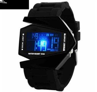 Đồng hồ kiểu siêu nhân dây nhựa (Đen)