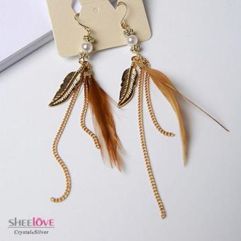 Bông tai nữ dáng dài ngọc trai lông vũ xinh xắn HKE-1604093(Nâu)