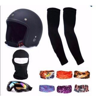 Bộ 1 nón bảo hiểm 3/4 đầu (đen) + 1 mũ ninja + 1 đôi bao tay chống nắng + 1 kính phượt + Tặng 2 khăn phượt đa năng màu ngẫu nhiên'(Đen)