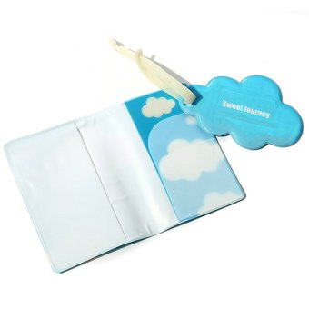 Bluelans Cloud Passport Holder Covers Travel Luggage Tag Silicone Ribbon Belt (Intl)