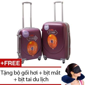 Bộ 2 vali nhựa dẻo (Tím) 20 inch và 24 inch + Tặng bộ 1 gối hơi + 1 bịt mắt + 1 cặp bịt tai du lịch