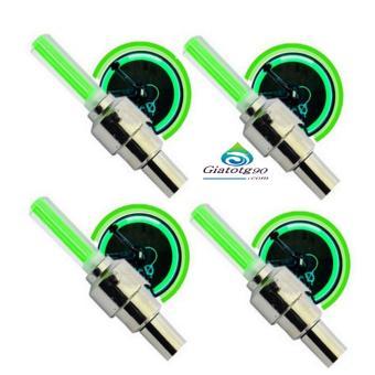 Bộ 4 Đèn LED gắn van đổi màu cho bánh xe máy ô tô 206131-4B(Xanh lá)