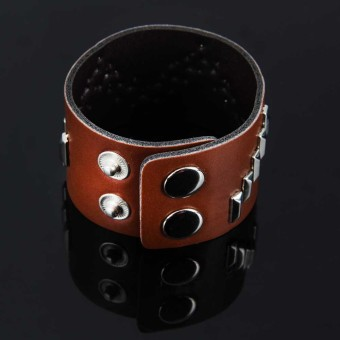 Modern Rectangular Rivets Faux Leather Wide Bracelet Cuff Bangle Coffee
