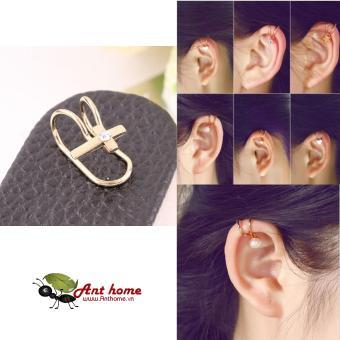 Bông tai nữ (Khuyên tai) đeo vành hình cây thánh giá đính đá mầu vàng (BT45)