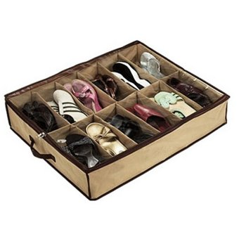 12 Pairs Shoes Organizer Holder Under Bed Closet Storage Fabric Bag Box- - intl