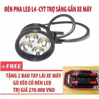 Đèn pha led L4-CYT trợ sáng gắn xe máy + 2 bao tay lái xe máy gù xéo có đèn led (đỏ)