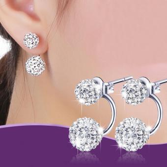 Bông tai bóng kép bạc S925 thời trang Hàn Quốc