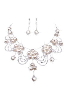 Bluelans Silver Plated Rhinestone Pearl Necklace Earring Set (Intl)
