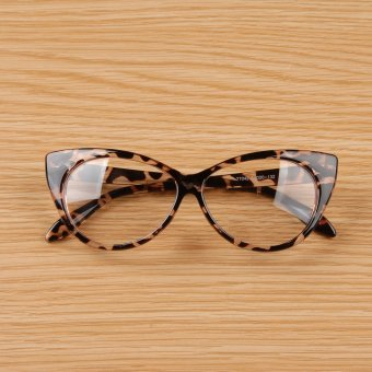 Cyber Women Lady Cat-eye Shape Plastic Plain Glasses Spectacle (Brown)
