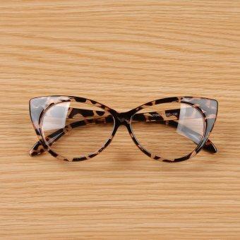 Cyber Women Lady Cat-eye Shape Plastic Plain Glasses Spectacle (Brown)