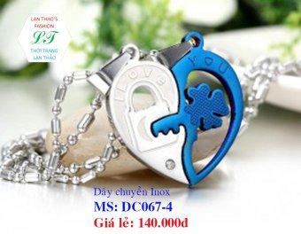 Dây chuyền Inox cặp chìa khóa cỏ 4 lá DC067-1 (Đen)