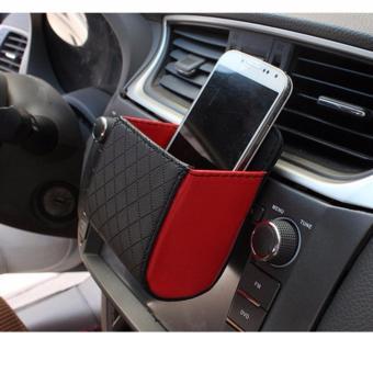 Bộ 2 hộp da đựng đồ tiện ích: Điện thoại, bút, dây sạc... trên xe ô tô K64 (Đỏ)