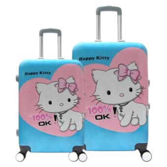 Bộ vali nhựa hình Happy Kitty khóa chập đựng 7Kg và 20Kg TA111 (Xanh)
