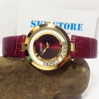 Đồng hồ nữ dây da thời trang đá xoay GUOU G6979 (Tím)