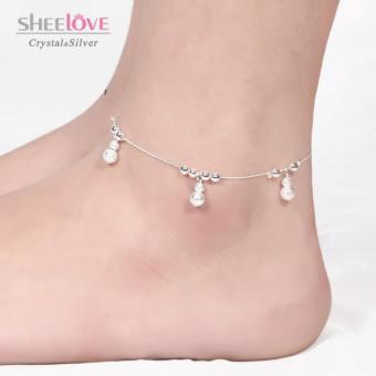 Lắc chân nữ bạc quả bầu xinh xắn dễ thương SPJ-JY015(Bạc)