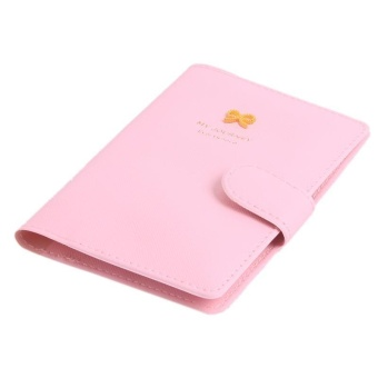 LALANG Sweet Bow Travel Passport Holder Bag PU Leather Cover Pink