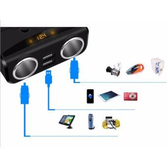 Bộ chia 2 nguồn tẩu Hyundai tích hợp vôn kế(Đen)