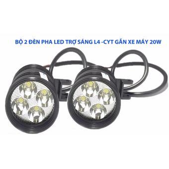 Bộ 2 Đèn pha led trợ sáng L4 CYT 20w gắn xe máy