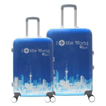 Bộ vali nhựa Khung Nhôm I Fly The World đựng 7Kg và 20Kg màu xanh TA0055