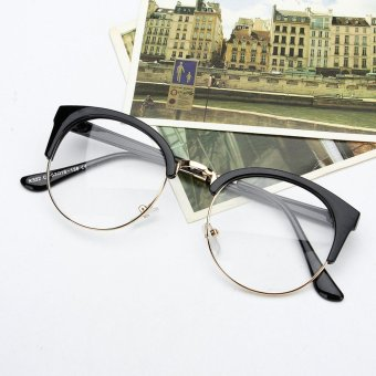 Retro Style Women Men Nerd Glasses Clear Lens Eyewear Round Metal Frame Glasses - intl