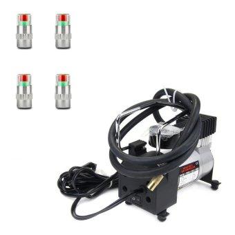 Bộ 01 Máy bơm lốp ô tô HEVAY DUTY và 04 nắp van cảnh báo áp suất GXV-8638