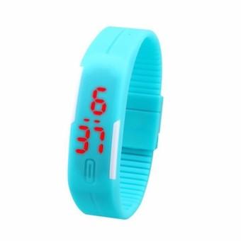 Đồng hồ LED dây silicon kiêm vòng tay (Xanh)