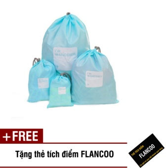 Bộ 4 túi rút đựng đồ đi du lịch Flancoo 3712 (Xanh dương) + Tặng kèm thẻ tích điểm Flancoo