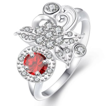 925 Silver Plated Ring for Women Nickle Free 8 Red - Intl