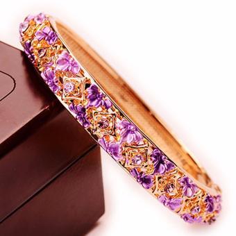 Lắc tay thời trang Retro Hàn Quốc mạ vàng trang sức (tím)