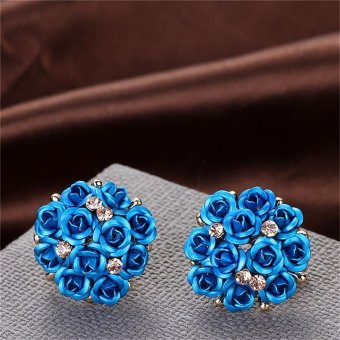 LALANG Women Round Rose Stud Earrings Jewelry Rhinestone Crystal Flower Earrings (Blue) - intl